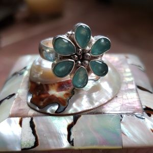 NWOT Blue chalcedony 925 ss flower ring .